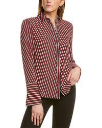 Anne Klein Striped Oxford Shirt - Pink