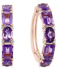 Effy Fine Jewellery 14k Rose Gold 4.61 Ct. Tw. Diamond & Amethyst Earrings - Multicolour