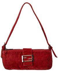 Fendi Burgundy Corduroy Shoulder Bag - Red