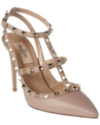 Valentino Rockstud Caged 100 Leather Ankle Strap Pump - Natural