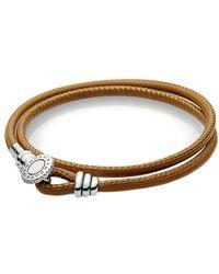 PANDORA - Charm Carrier Silver Cz & Leather Golden Tan Double Leather Bracelet - Lyst