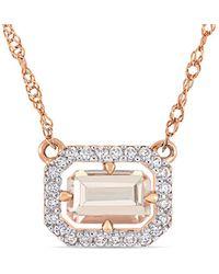 Rina Limor - Fine Jewellery 14k Rose Gold 0.65 Ct. Tw. Diamond & Morganitenecklace - Lyst