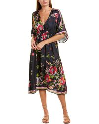Johnny Was Silk Slip Midi Dress - Black