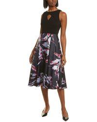 Adrianna Papell Pleated Midi Dress - Black