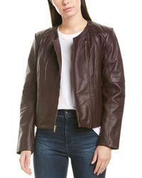 Cole Haan Asymmetric Leather Jacket - Red