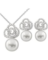Splendid Splendid Pearl Rhodium Plated 9-10mm Pearl Cz Necklace & Earrings Set - Metallic