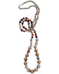 Chan Luu Silver Agate & 6-12mm Pearl 36in Necklace - Metallic