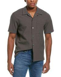 Theory Weldon Dimension Check Woven Shirt - Brown