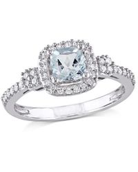 Rina Limor 10k 0.70 Ct. Tw. Diamond & Aquamarine Halo Ring - Metallic