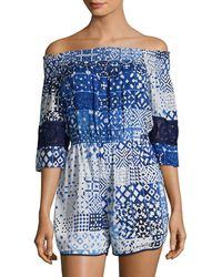 Plenty by Tracy Reese Off-the-shoulder Graphic Romper - Blue