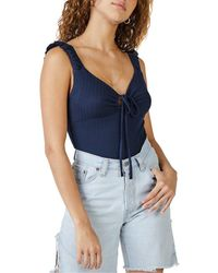 Sage the Label Britanny Ruched Front Pointelle Rib - Blue