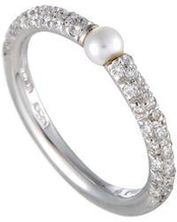 Mikimoto 18k 0.35 Ct. Tw. Diamond & 3-3.5mm Pearl Ring - Metallic