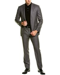 Corneliani Wool Suit With Flat Front Pant - Grey
