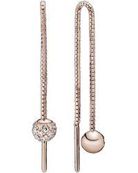 PANDORA Rose? 14k Rose Gold Plated Cz Polished & Pave Bead Dangle Earrings - Metallic