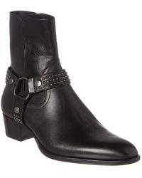 Saint Laurent Wyatt 40 Stud Harness Leather Boot - Black