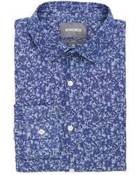 Bonobos Slim Fit Washed Linen-blend Shirt - Blue