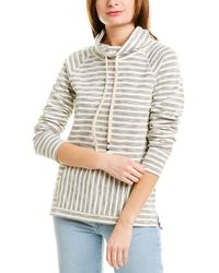 Sol Angeles Textured Stripe Cowl Pullover Sweatshirt - Gray