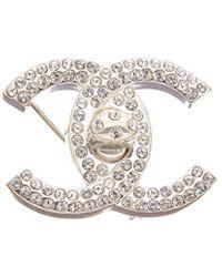 Chanel Silver-tone & Crystal Cc Large Turnlock Pin - Metallic