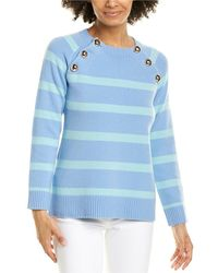 Sail To Sable Button Front Wool Jumper - Blue
