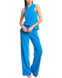 Halston Wrap Neck Jumpsuit - Blue