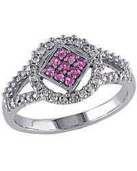 Rina Limor 10k 0.57 Ct. Tw. Diamond & Pink Sapphire Ring - Metallic