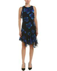 Elie Tahari Serenity Ruffled Floral-print Burnout Silk-blend Chiffon Dress Midnight Blue