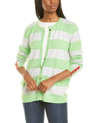Joan Vass Petite Stripe Cardigan - Green
