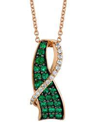 Le Vian ? 14k Rose Gold 0.82 Ct. Tw. Diamond & Emerald Necklace - Green