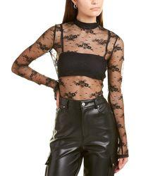 Amiri Floral Lace Turtleneck Top - Black