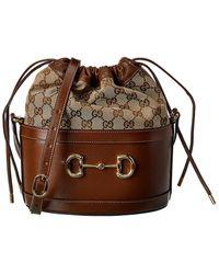 Gucci Horsebit 1955 GG Supreme Canvas & Leather Bucket Bag - Brown