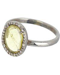 Adornia - Fine Jewellery Rhodium Plated Silver 1.30 Ct. Tw. Diamond & Yellow Tourmaline Ring - Lyst