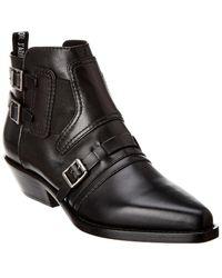 Dior Saddle Leather Bootie - Black