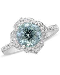 Effy Fine Jewellery 14k 1.62 Ct. Tw. Diamond & Aquamarine Ring - Blue