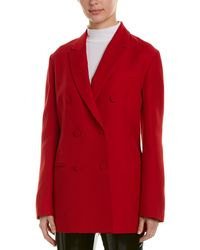 Valentino Double-breasted Silk & Wool-blend Blazer - Red