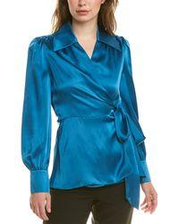 Elie Tahari Shay Silk Blouse - Blue