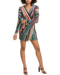 ML Monique Lhuillier Striped Velvet Mini Dress - Multicolour