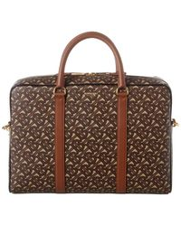 Burberry Tb Monogram Print E-canvas & Leather Briefcase - Brown