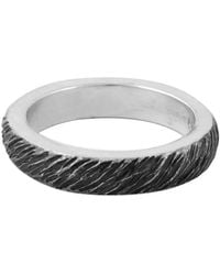 King Baby Studio Silver Slashed Texture Stackable Ring - Metallic