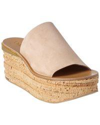 Chloé Camille Suede Platform Wedge Sandal - Natural