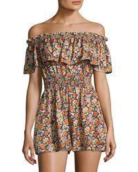 Rebecca Taylor Moonlight Floral Silk Off-the-shoulder Romper - Multicolour