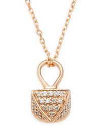 Sydney Evan - 14k Pyramid Pave Drop Charm Necklace - Lyst