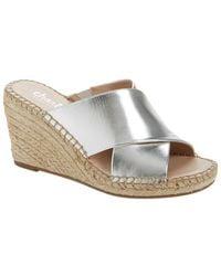Charles David Neutron Leather Wedge Sandal - Metallic