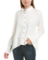 Moon River Fringe Trim Linen-blend Shirt - White