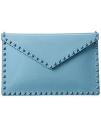 Valentino Rockstud Patent Pouch - Blue