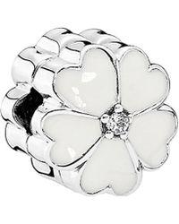 PANDORA Silver Cz White Primrose Clip Charm - Multicolour