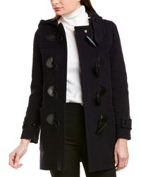 Burberry Duffle Wool-blend Trench Coat - Blue