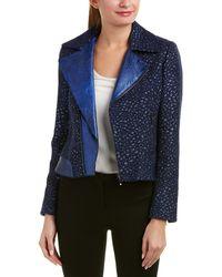 Elie Tahari Leather-trim Wool-blend Jacket - Blue