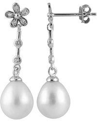Splendid - Rhodium Plated 8-8.5mm Pearl & Cz Earrings - Lyst