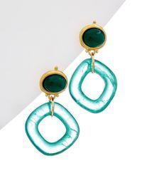 Kenneth Jay Lane Plated Resin Earrings - Blue
