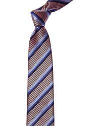 Canali Pink & Blue Stripe Silk Tie